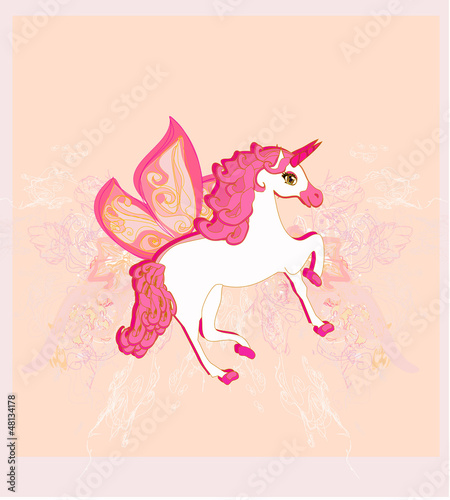 Deurstickers Pony Vector Illustration of beautiful Unicorn.