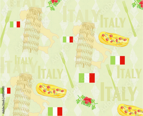 Poster Doodle Italy travel seamless pattern with national italian food, sights