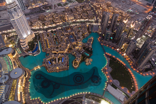 Dubai Fountain Area from Burj Khalifa Fotobehang