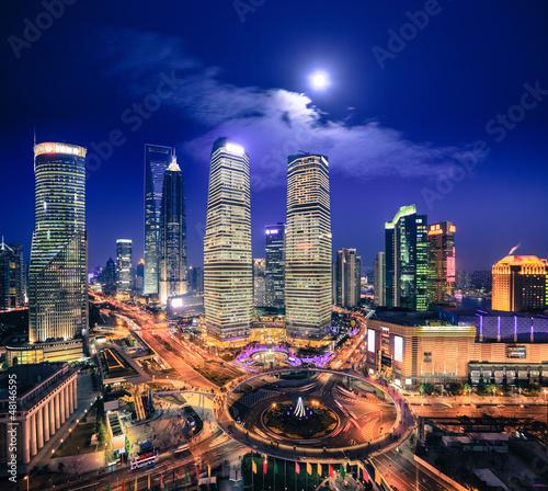 In de dag Volle maan bird's eye view of shanghai skyline at night
