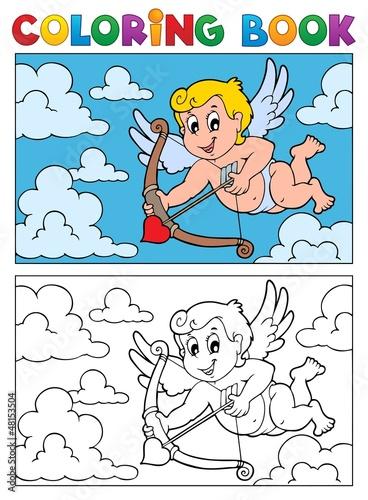 Tuinposter Doe het zelf Coloring book with Cupid 2