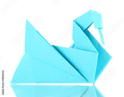 Origami swan isolated on white