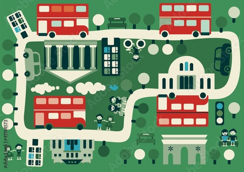 Spoed Foto op Canvas Op straat cartoon map of London with double decker