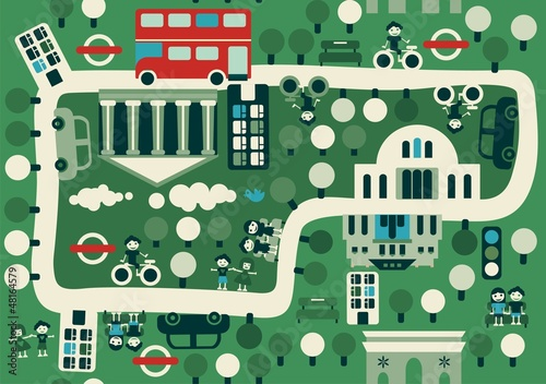 Wall Murals On the street cartoon map of London