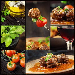 Fototapeta Do baru Food collage - meat balls