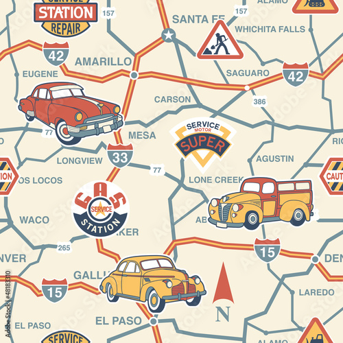 Poster Op straat Cute route map seamless pattern