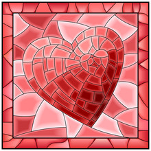 Heart Stained Glass Window Wit...