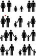 Leinwanddruck Bild - Family Icons (man, woman, boy, girl)