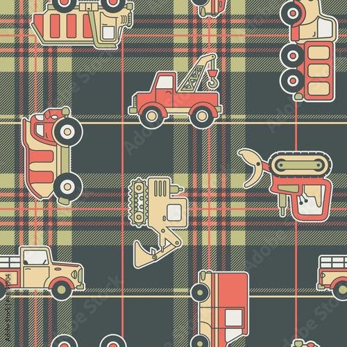 Foto op Plexiglas Op straat CuteTrucks with tartan background - seamless pattern