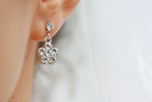 Earring With Diamond. Woman Wi...