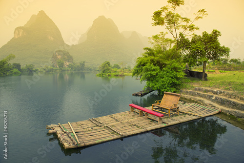 Bamboo rafting on river, Yangshou, China