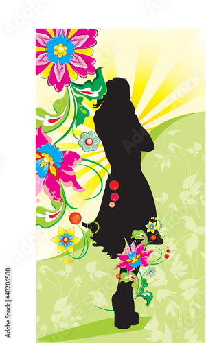 Poster Bloemen vrouw girl on background of the green meadow