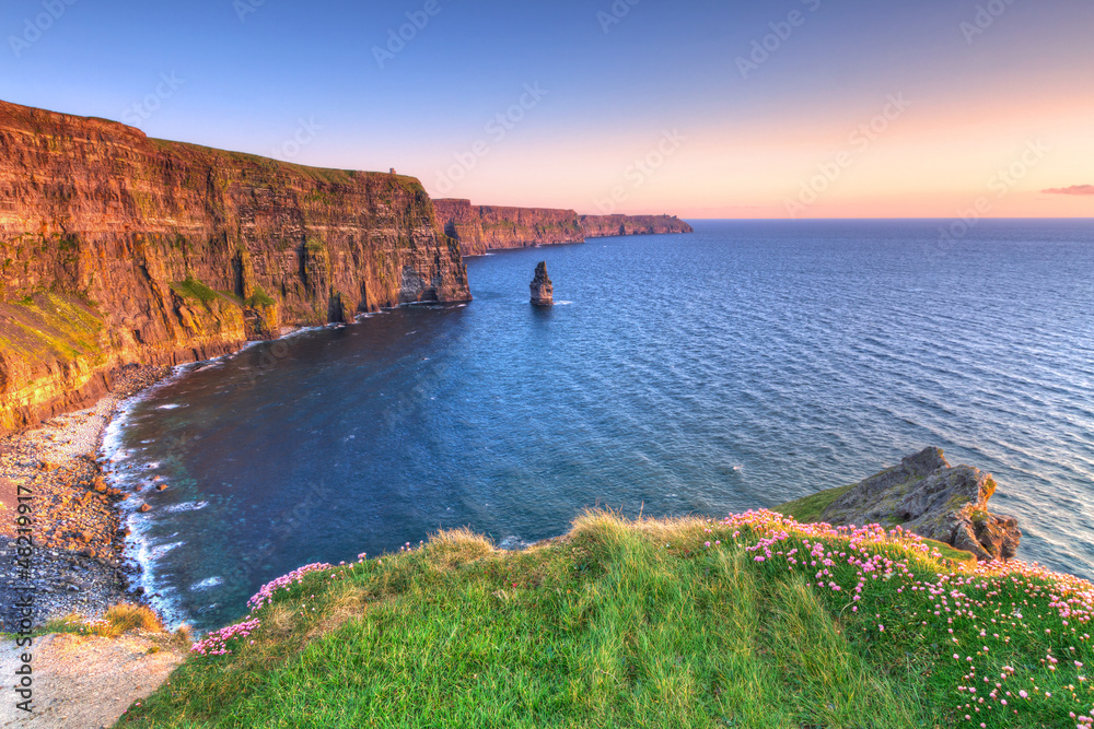 Fototapeta Cliffs of Moher at sunset in Co. Clare, Ireland