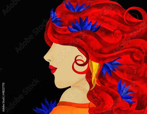Foto op Aluminium Klassieke abstractie profilo di donna con capelli rossi