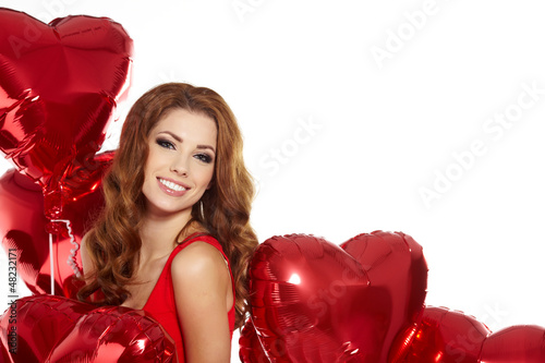 woman with red heart balloon Poster