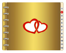 Icon Calendar With Two Entwined Hearts.