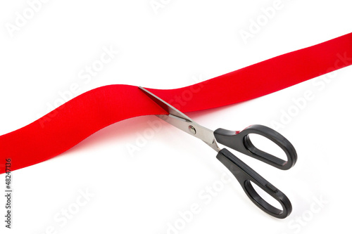Fotografía  cutting red ribbon
