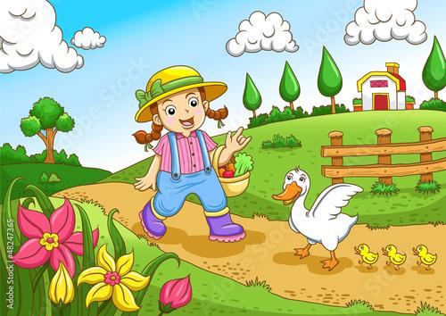 Poster Ranch Cute little farmers girl