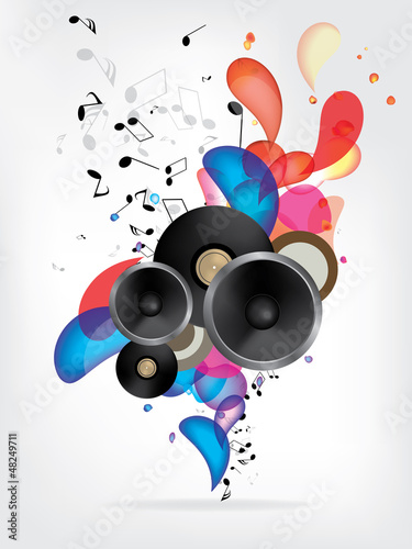 Abstract music background with notes - 48249711
