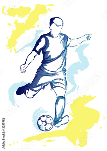 Juliste  Football player - watercolor kick