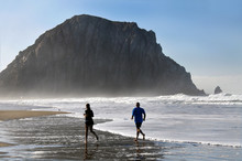 Joggers At Sunrise, Morro Bay ...