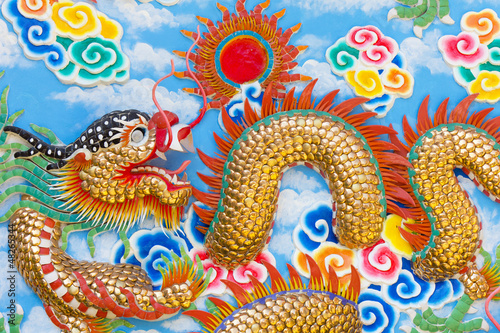Canvastavla  Golden Chinese Dragon