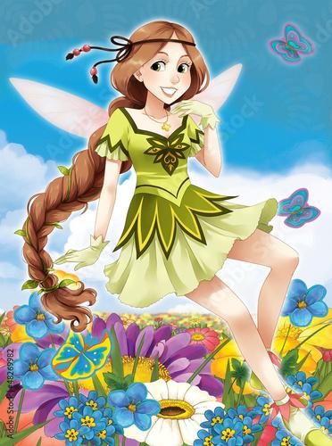 La pose en embrasure Fées, elfes The fairy - Beautiful Manga Girl - illustration