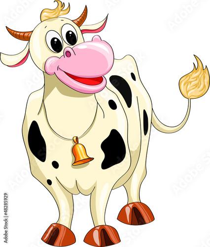Spoed Foto op Canvas Boerderij Cartoon spotted cow