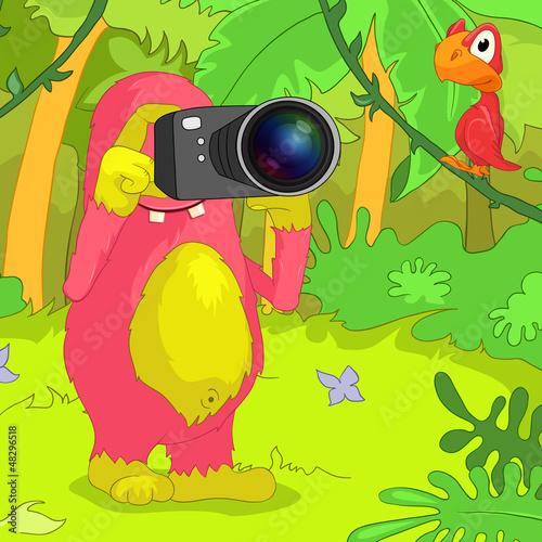Foto op Canvas Schepselen Funny Monster.