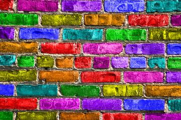 FototapetaMur de briques multicolores
