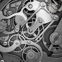 Silver Clockwork 3d Illustration