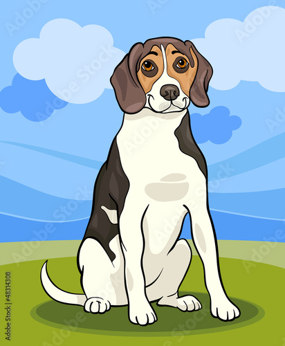 Poster Dogs beagle dog cartoon illustration