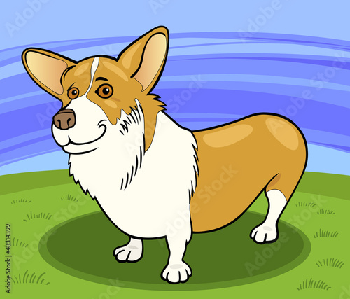 Poster Dogs pembroke welsh corgi dog cartoon illustration
