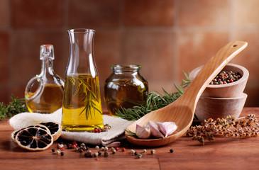 Obraz na Szkle Do jadalni olio di oliva aromatizzato