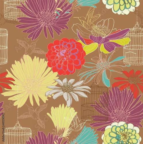 In de dag Vogels in kooien seamless floral pattern