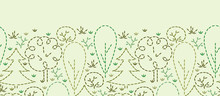 Vector Embroidered Forest Horizontal Seamless Pattern Background
