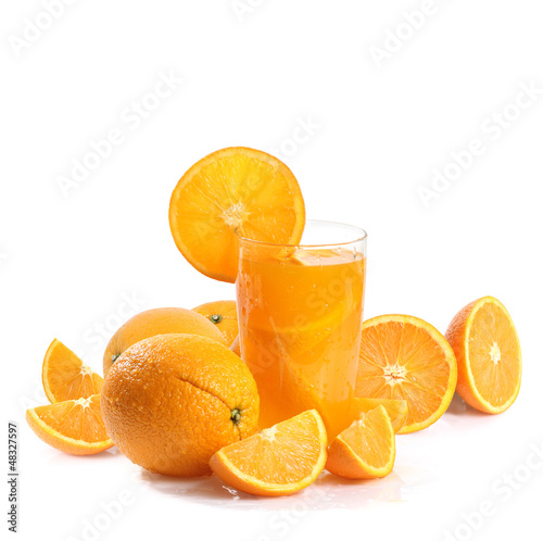 Poster Sap Orange juice and slices