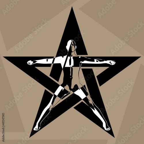 Photo  Pentagram. The man in the pentagram