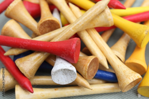 Photo  Closeup of Colorful Wooden Golf Tees