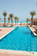 Swimming pool at the beach of luxury hotel, Saadiyat island, Abu