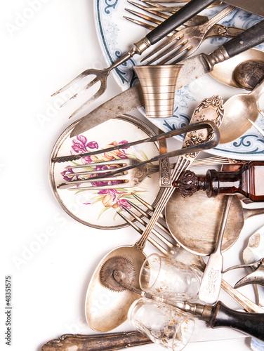 Naklejka - mata magnetyczna na lodówkę Assortment of retro silverware and vintage glass