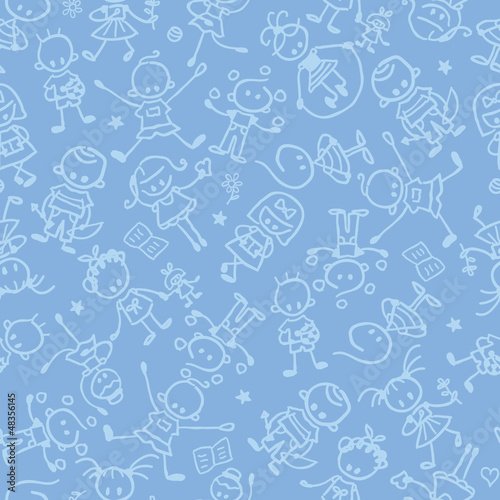 Stampa su Tela vector kids playing seamless pattern background with hand drawn