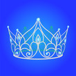 canvas print picture - tiara women  wedding with blue jewels