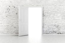 3d Open Door In A White Vintag...