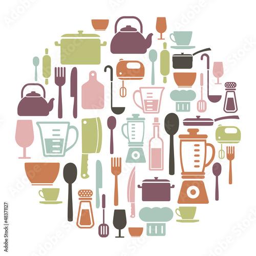 Obrazy do kuchni   okragla-karta-z-ikony-gotowania