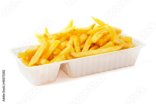 Portion of fries in disposable tray Poster