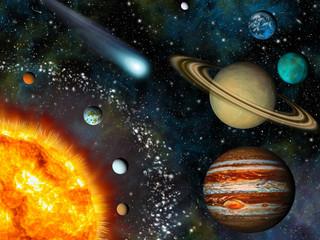 Panel Szklany Kosmos Realistic 3D Solar System Wallpaper