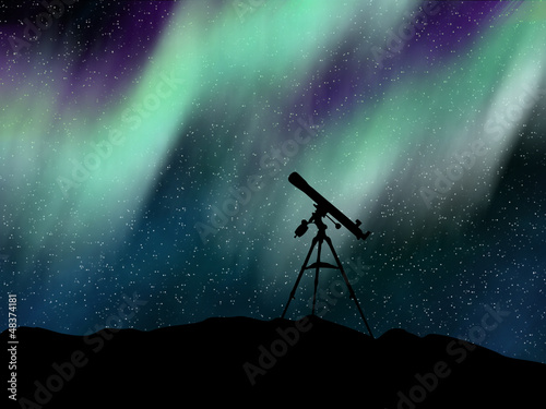 Fotografia, Obraz  Silhouette telescope under the Aurora Borealis sky