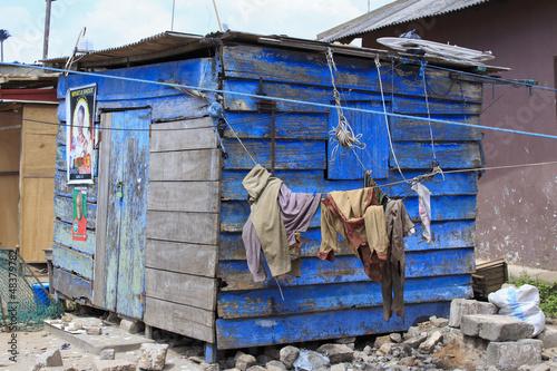 Staande foto Afrika Simple blue shack