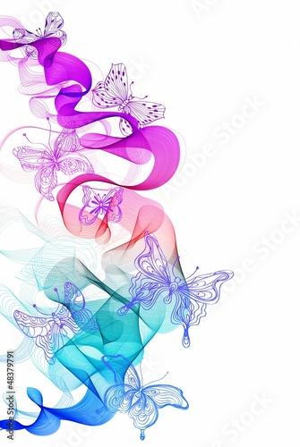 kolorowy-abstrakcjonistyczny-tlo-z-motylem-i-fala